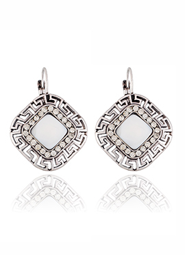 Silver Colored N White Stone Hoop Earring