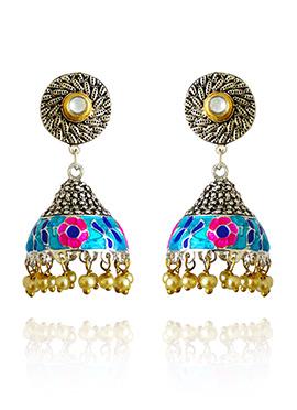 Silver Colored Neon Blue Meenakari Jhumka Earring