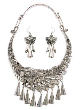 Silver Colored Peacock Necklace Set