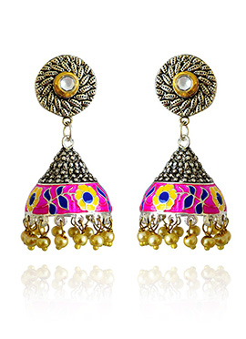 Silver Colored Pink Meenakari Jhumka Earring