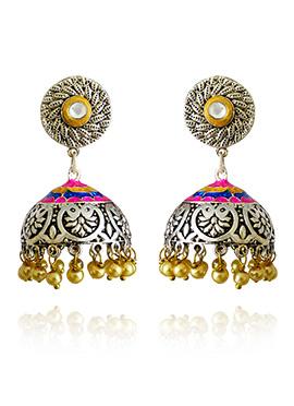 Silver Colored Pink Meenakari Jhumka Earring