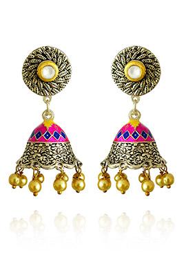 Silver Colored Pink N Blue Meenakari Jhumka Earring