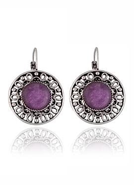 Silver Colored Purple Stone Hoops Earring