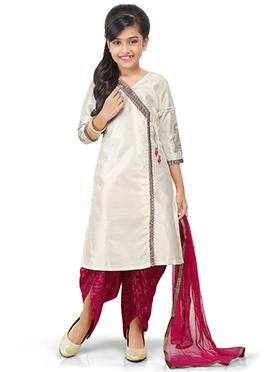 Silver Dhoti Style Kids Salwar Kameez
