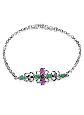 Silver Floral Symbol Rakhi For Men