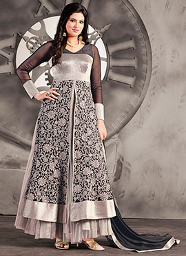 Silver Georgette Layered Anarkali Suit