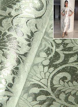 Silver Jacquard Dress Material