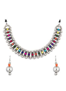 Silver Multicolor Kundan Necklace
