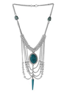 Silver N Aqua Blue Necklace