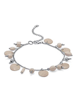 Silver N Beige Bead Chain Anklet