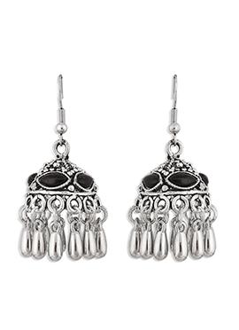 Silver N Black Hooks Earrings