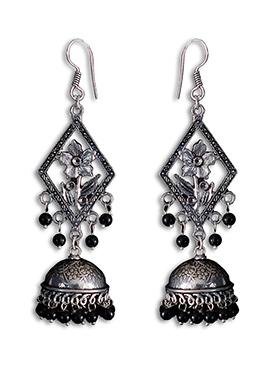Silver N Black Jhumka Earring