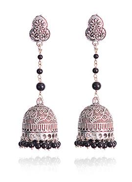 Silver N Black Jhumka Earrings