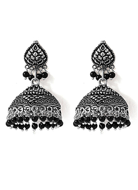 Silver N Black Jhumka Earrings