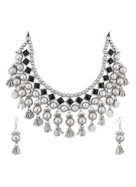Silver N Black Kundan Necklace