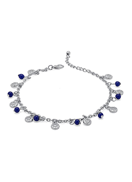 Silver N Blue Beads Chain Anklet