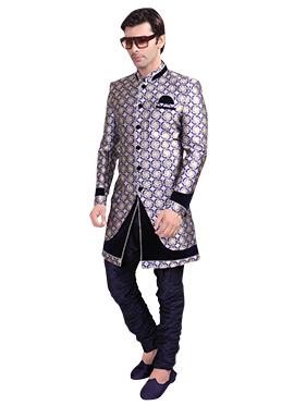 Silver N Blue Breeches Style Sherwani