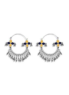 Silver N Blue Hoops Earring