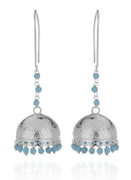 Silver N Blue Jhumka Earring
