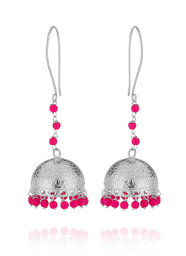 Silver N Pink Jhumka Earrings