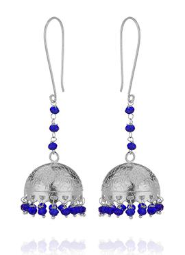 Silver N Blue Jhumka Earrings