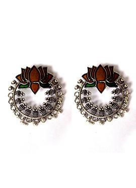 Silver N Brown Chaand Bali Earring