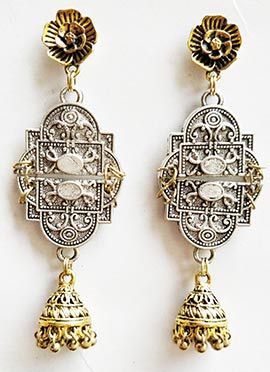 Silver N Gold Dangler Earrings