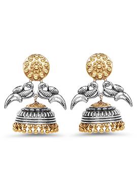 Silver N Golden Jhumka Earring