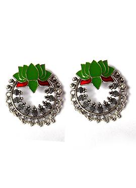 Silver N Green Chaand Bali Earring