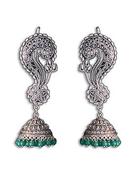 Silver N Green Jhumka Earring
