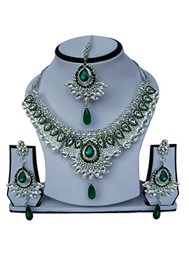 Silver N Green Zircon Stone Necklace Set