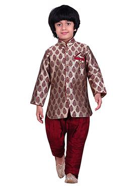 Silver N Maroon Breeches Style Kids Sherwani