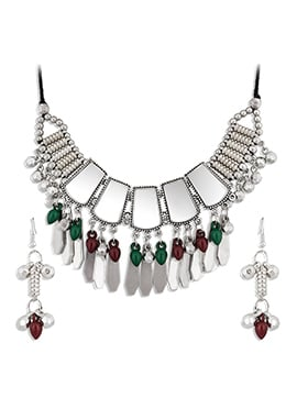 Silver N Multicolor Beads Necklace