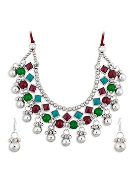 Silver N Multicolor Kundan Necklace