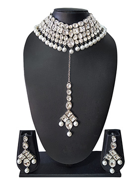 Silver N Off White Beads N Kundan Choker Necklace