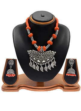 Silver N Orange Necklace Set