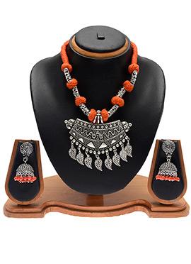 Silver N Orange Necklace Set
