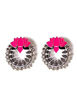 Silver N Pink Chaand Bali Earring