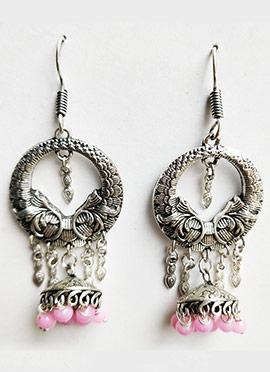 Silver N Pink Dangler Earrings