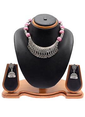 Silver N Pink Necklace Set