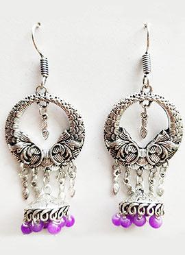 Silver N Purple Dangler Earrings
