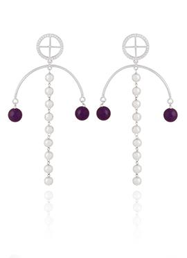 Silver N Purple Drops Earrings