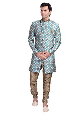 Silver N Rama Green Breeches Style Sherwani