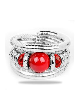 Silver N Red Bracelet
