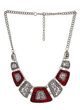 Silver N Red Colored Foliage Design Necklace