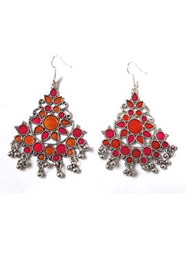 Silver N Red Dangler Earrings