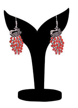 Silver N Red Danglers Earrings