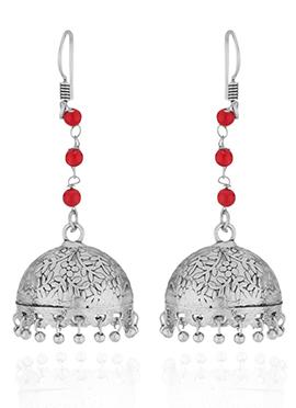 Silver N Red Jhumka Earring