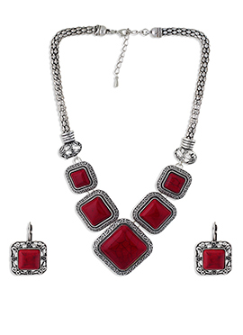 Silver N Red Necklace Set