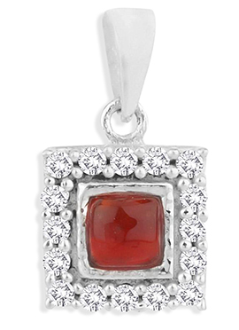 Silver N Red Pendant
